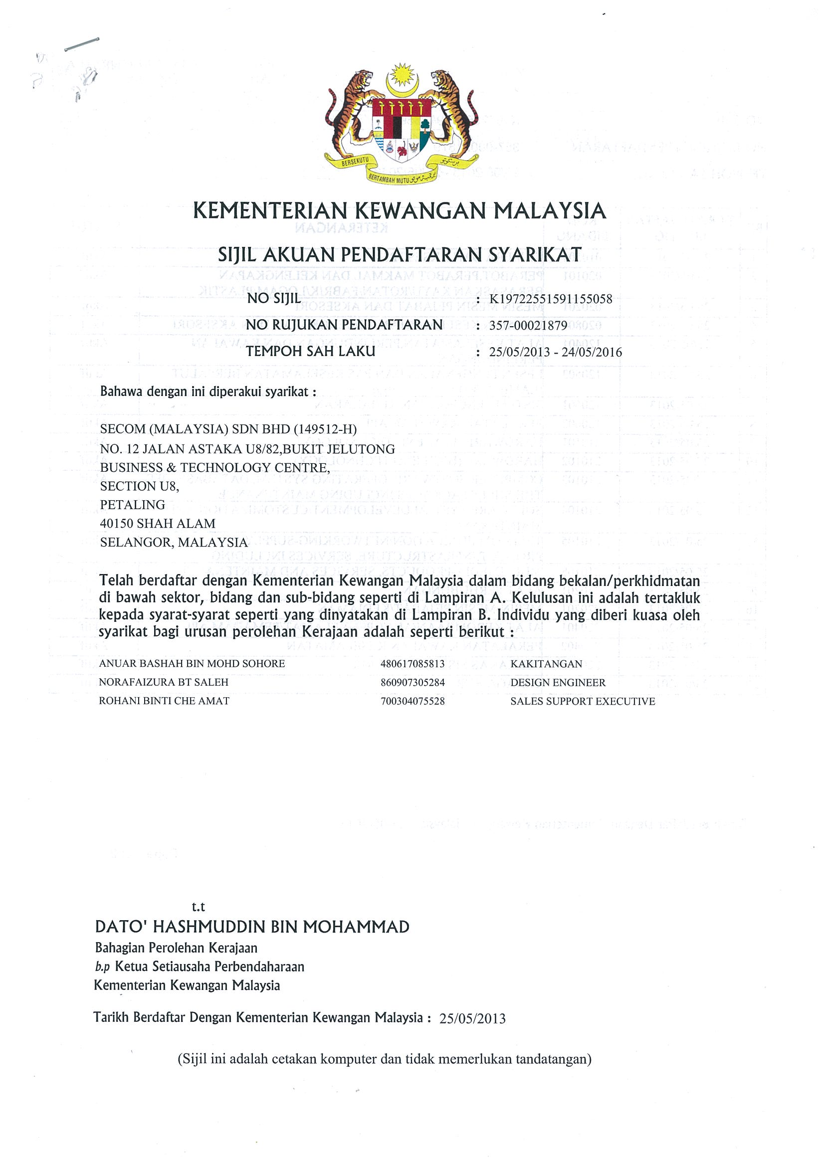Account Registration, by Ministry of Finance Malaysia